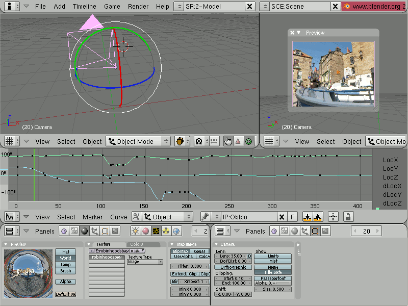 Screenshot of Blender in action