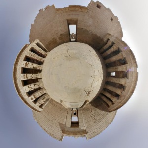 A vertical stereographic fisheye projection, showing conformal mapping